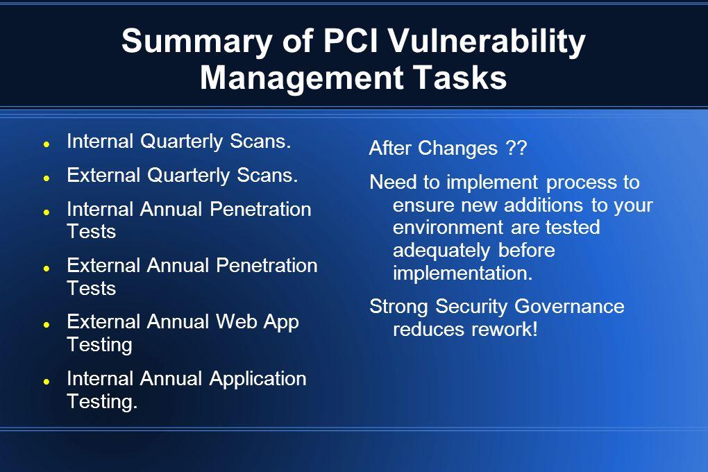 Summary of PCI Vulnerability Management Tasks Internal Quarterly Scans. External Quarterly Scans. Internal Annual Penetration Tests External Annual Pe