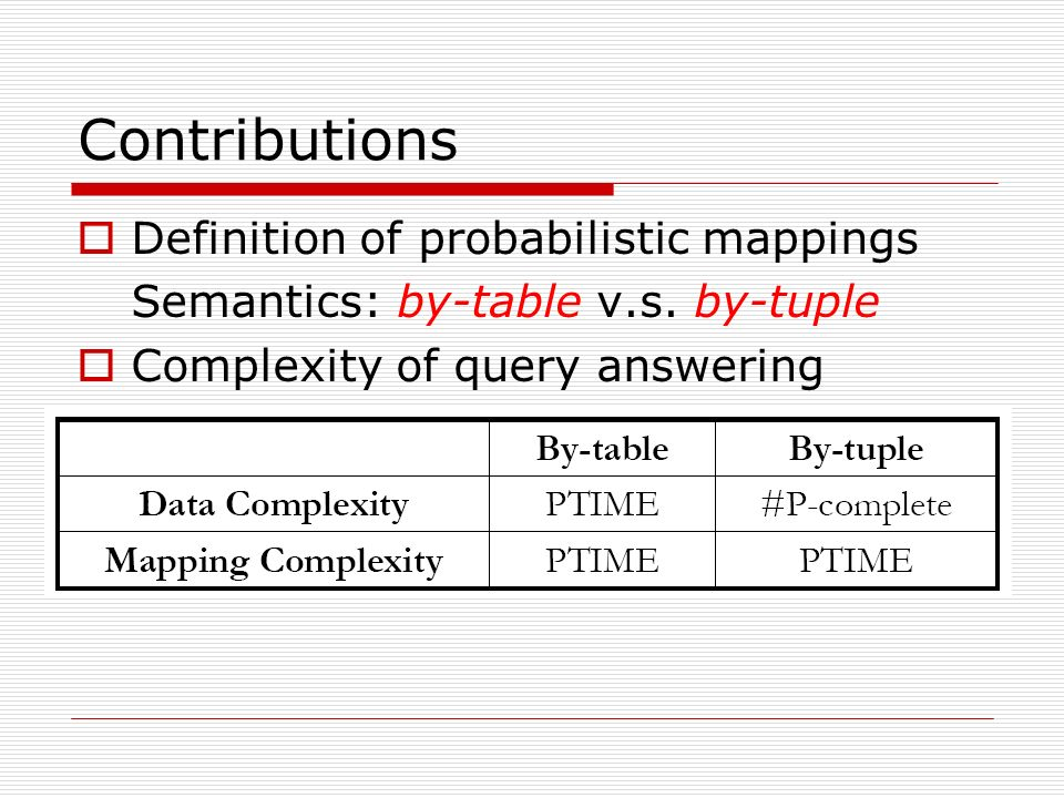 Definition of probabilistic mappings Semantics: by-table v.s.