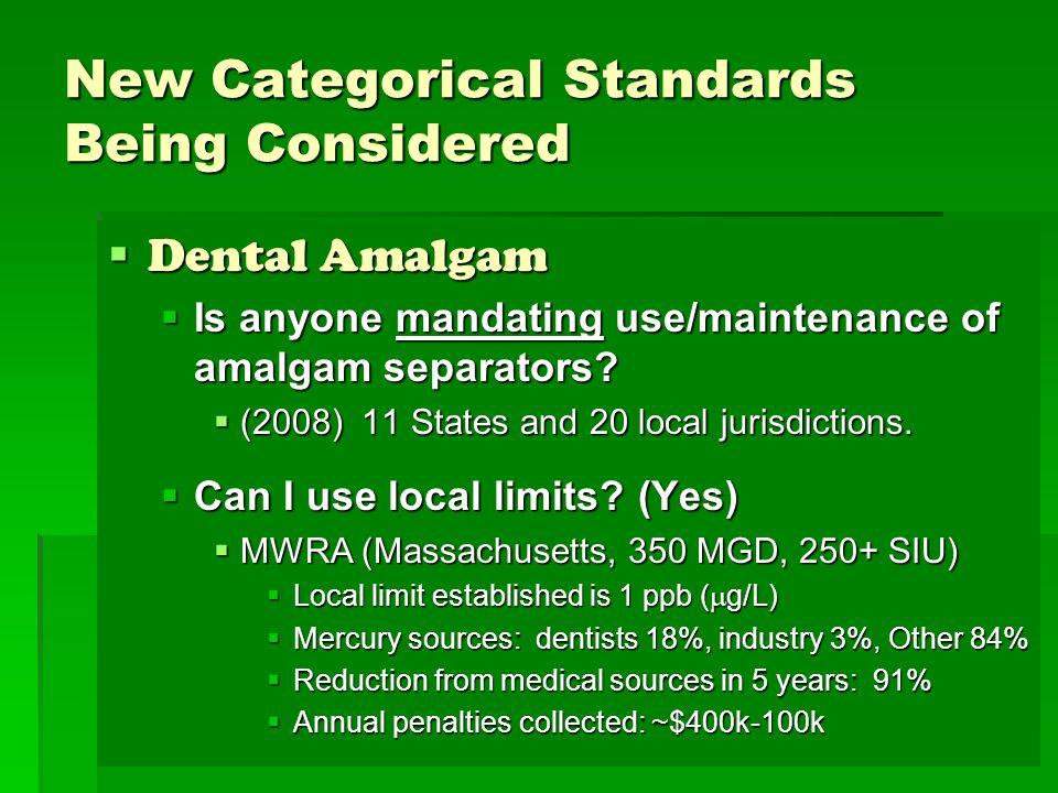 New Categorical Standards Being Considered Dental Amalgam Dental Amalgam Is anyone mandating use/maintenance of amalgam separators? Is anyone mandatin