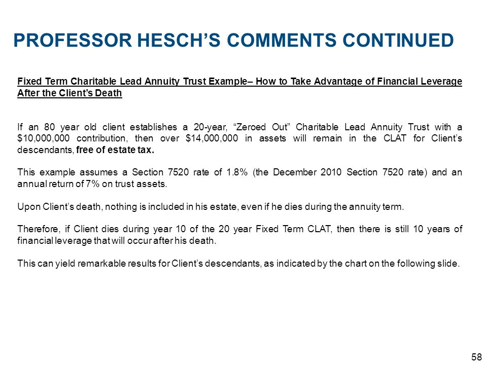 58 PROFESSOR HESCHS COMMENTS CONTINUED Fixed Term Charitable Lead Annuity Trust Example– How to Take Advantage of Financial Leverage After the Clients