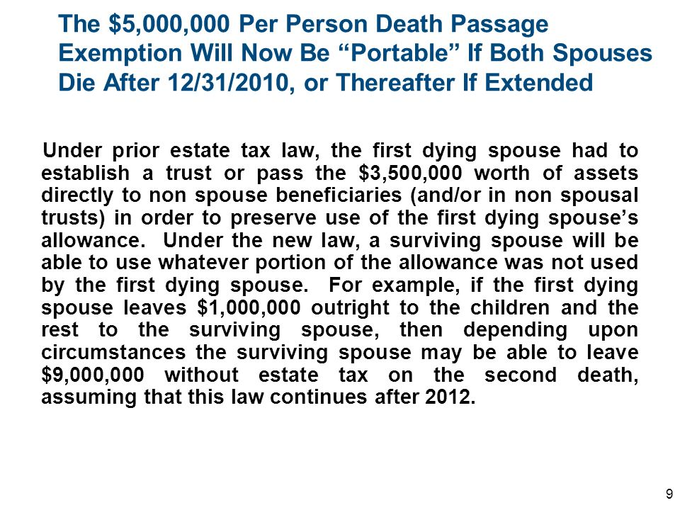 The $5,000,000 Per Person Death Passage Exemption Will Now Be Portable If Both Spouses Die After 12/31/2010, or Thereafter If Extended Under prior est