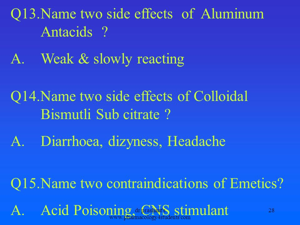 Q13.Name two side effects of Aluminum Antacids ? A.Weak & slowly reacting Q14.Name two side effects of Colloidal Bismutli Sub citrate ? A.Diarrhoea, d