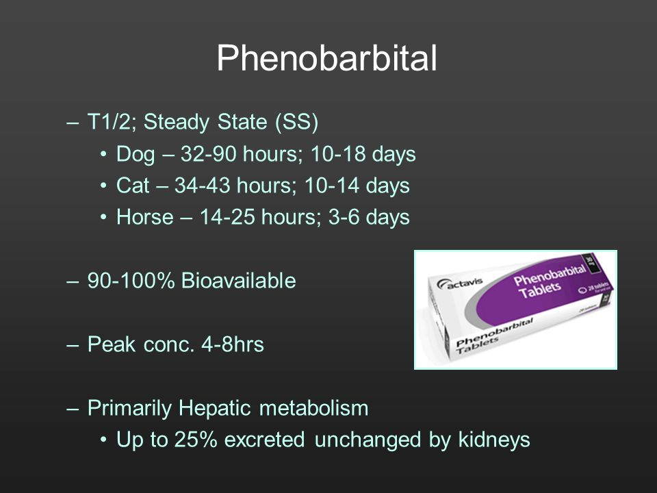 Phenobarbital –T1/2; Steady State (SS) Dog – 32-90 hours; 10-18 days Cat – 34-43 hours; 10-14 days Horse – 14-25 hours; 3-6 days –90-100% Bioavailable