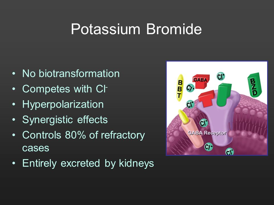 Potassium Bromide No biotransformation Competes with Cl - Hyperpolarization Synergistic effects Controls 80% of refractory cases Entirely excreted by
