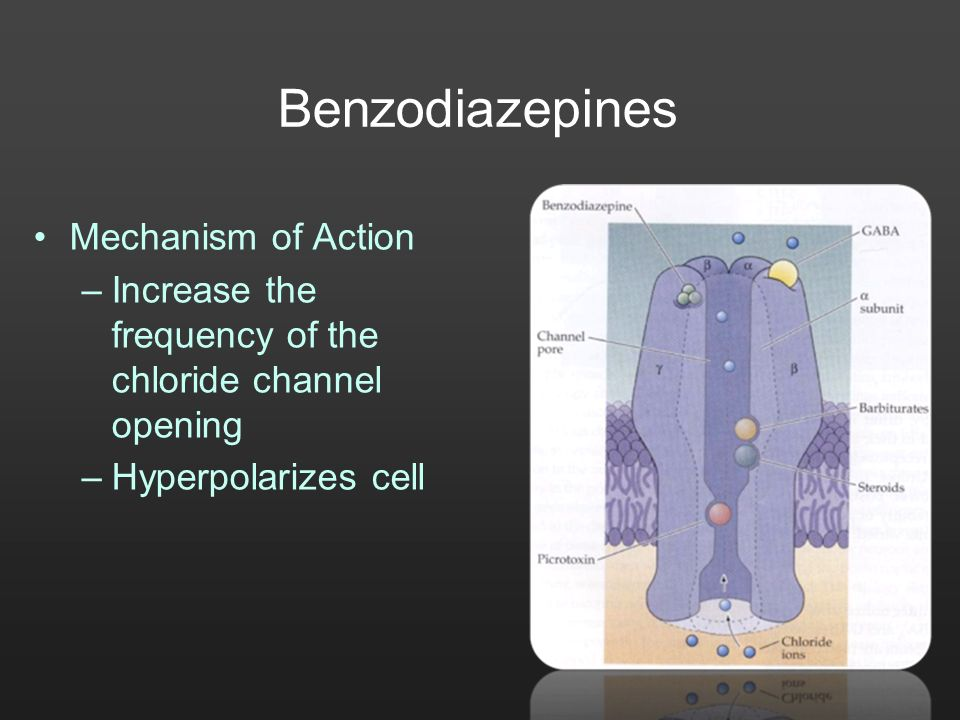 Benzodiazepines Mechanism of Action –Increase the frequency of the chloride channel opening –Hyperpolarizes cell