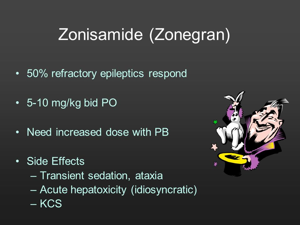 Zonisamide (Zonegran) 50% refractory epileptics respond 5-10 mg/kg bid PO Need increased dose with PB Side Effects –Transient sedation, ataxia –Acute