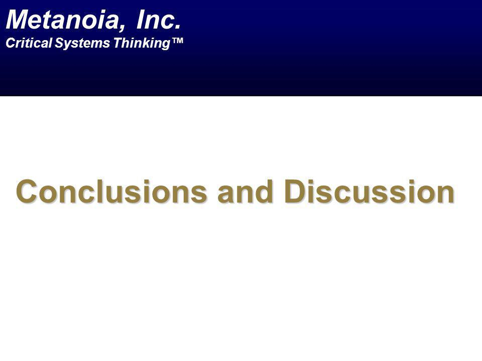 Conclusions and Discussion Metanoia, Inc. Critical Systems Thinking