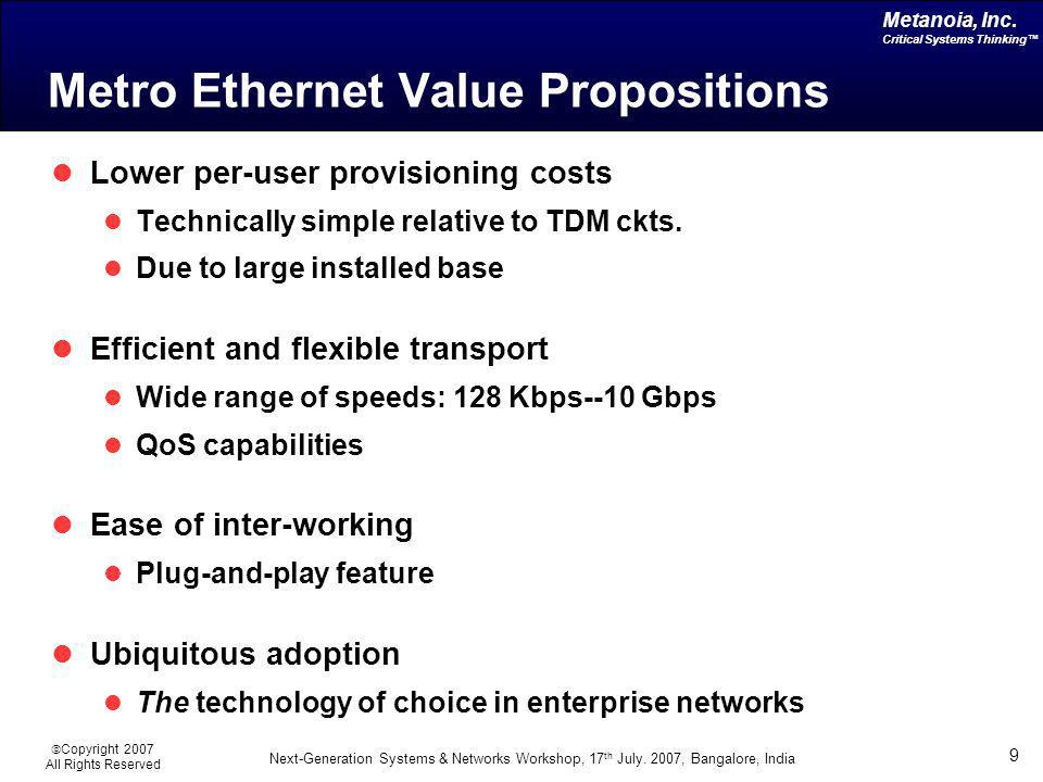 Native Ethernet as Carrier-class Transport Metanoia, Inc. Critical Systems Thinking