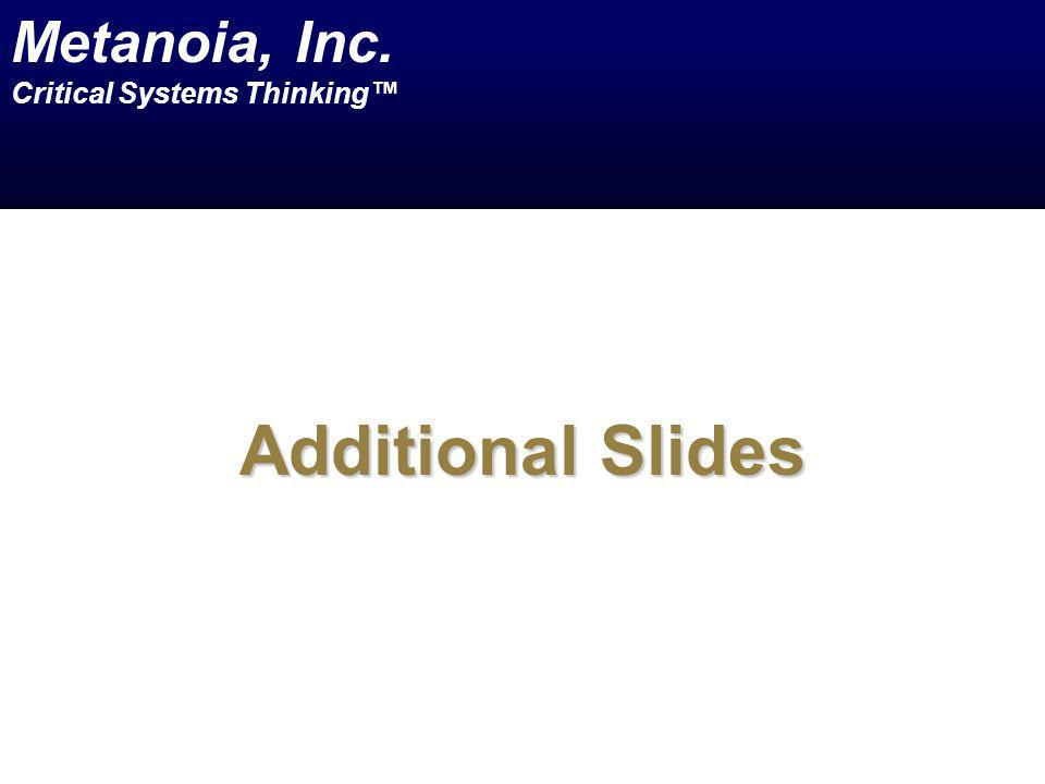 Additional Slides Metanoia, Inc. Critical Systems Thinking