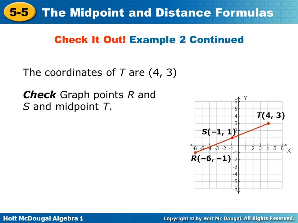 Holt McDougal Algebra 1 5-5 The Midpoint and Distance Formulas The coordinates of T are (4, 3) R(–6, –1) T(4, 3) S(–1, 1) Check Graph points R and S a
