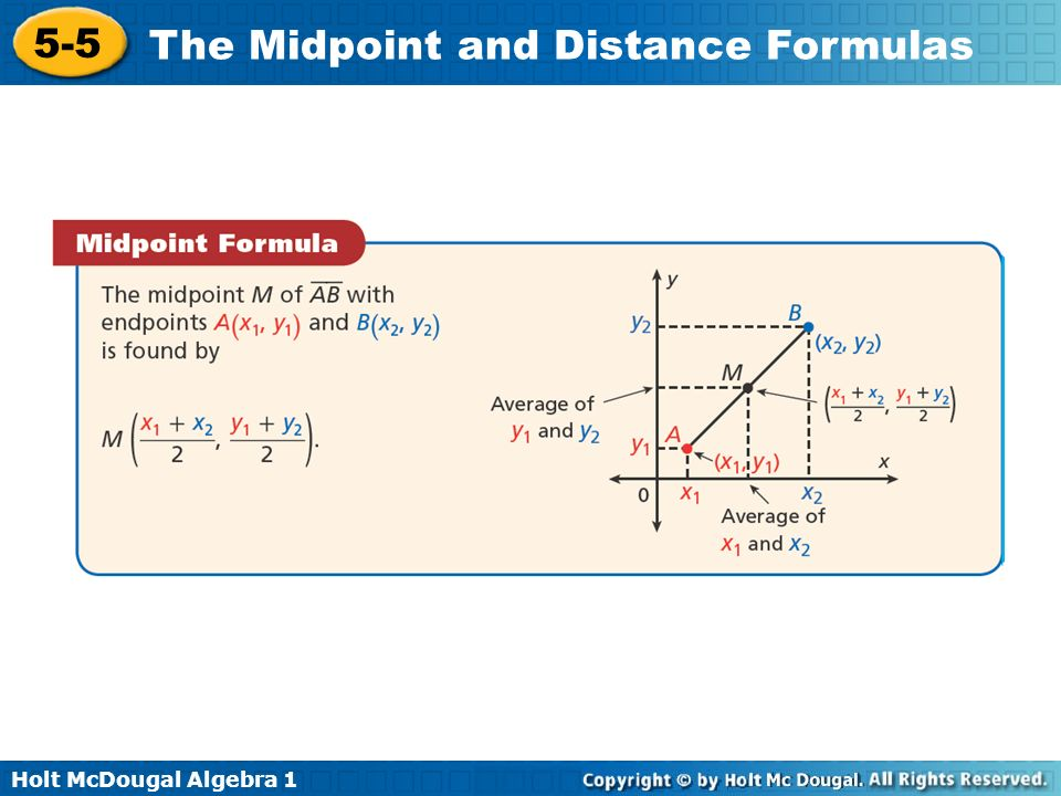 Holt McDougal Algebra 1 5-5 The Midpoint and Distance Formulas