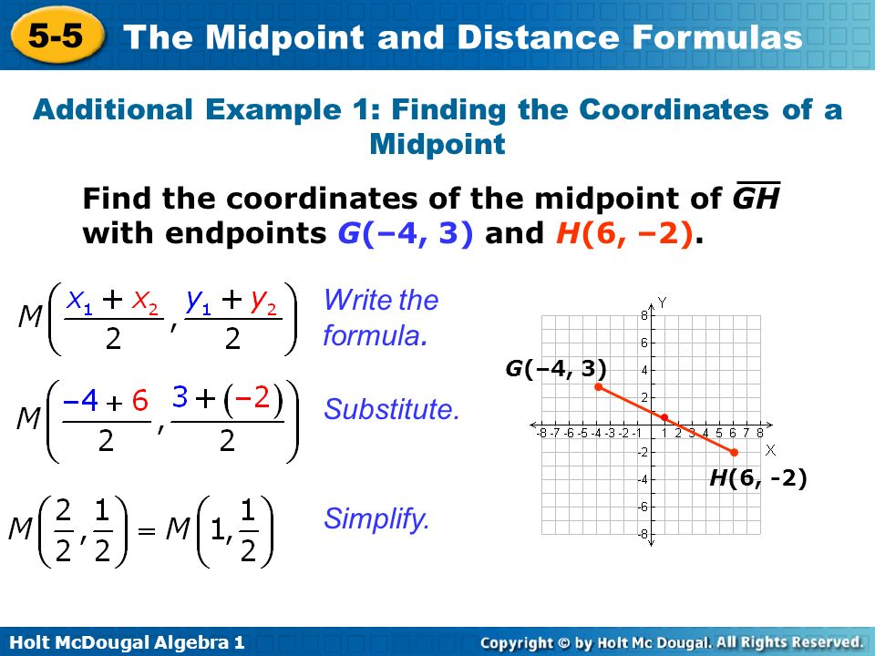 Holt McDougal Algebra 1 5-5 The Midpoint and Distance Formulas Find the coordinates of the midpoint of GH with endpoints G(–4, 3) and H(6, –2). Substi