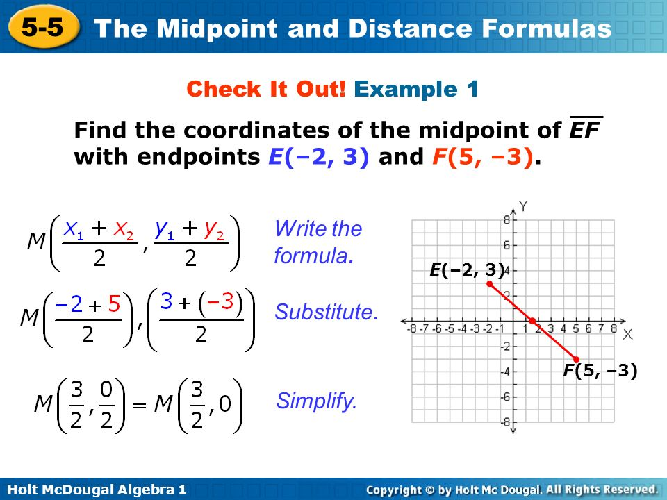 Holt McDougal Algebra 1 5-5 The Midpoint and Distance Formulas Check It Out! Example 1 Find the coordinates of the midpoint of EF with endpoints E(–2,