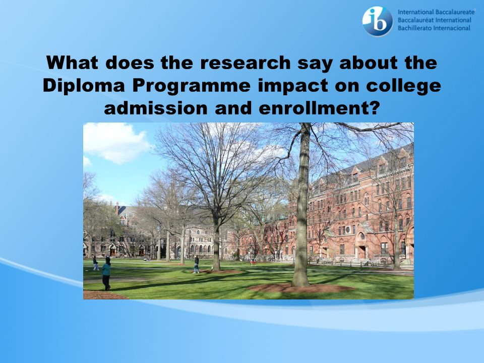 What does the research say about the Diploma Programme impact on college admission and enrollment?