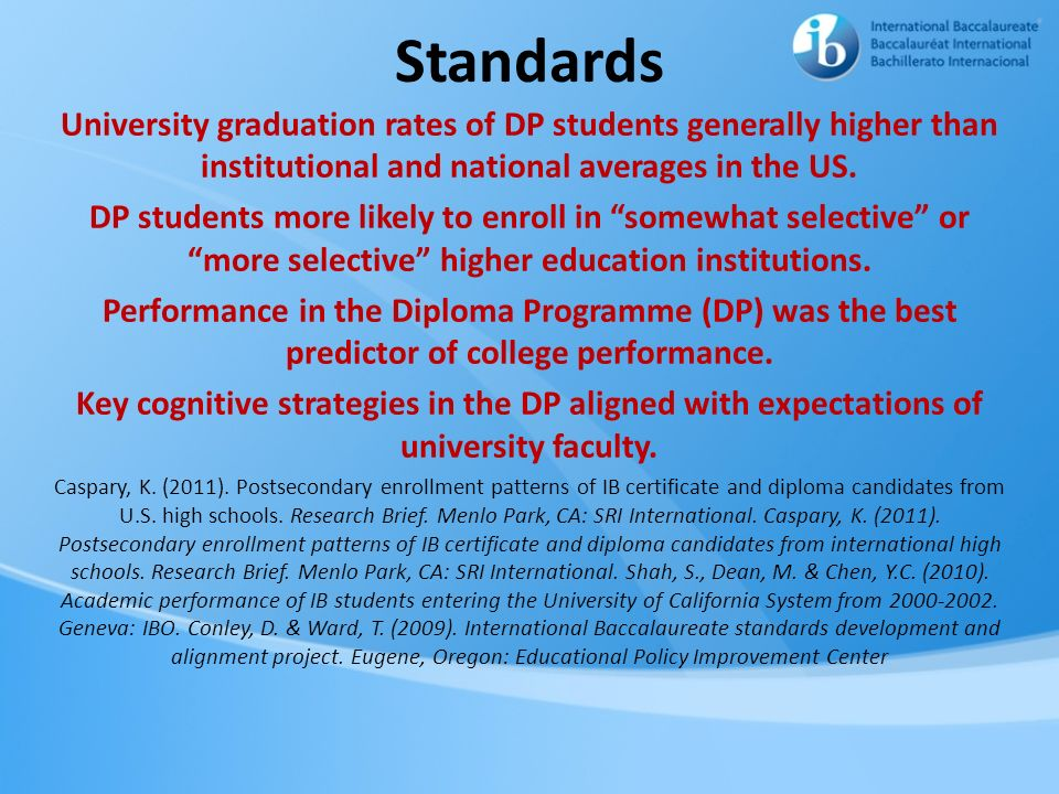 Standards University graduation rates of DP students generally higher than institutional and national averages in the US. DP students more likely to e