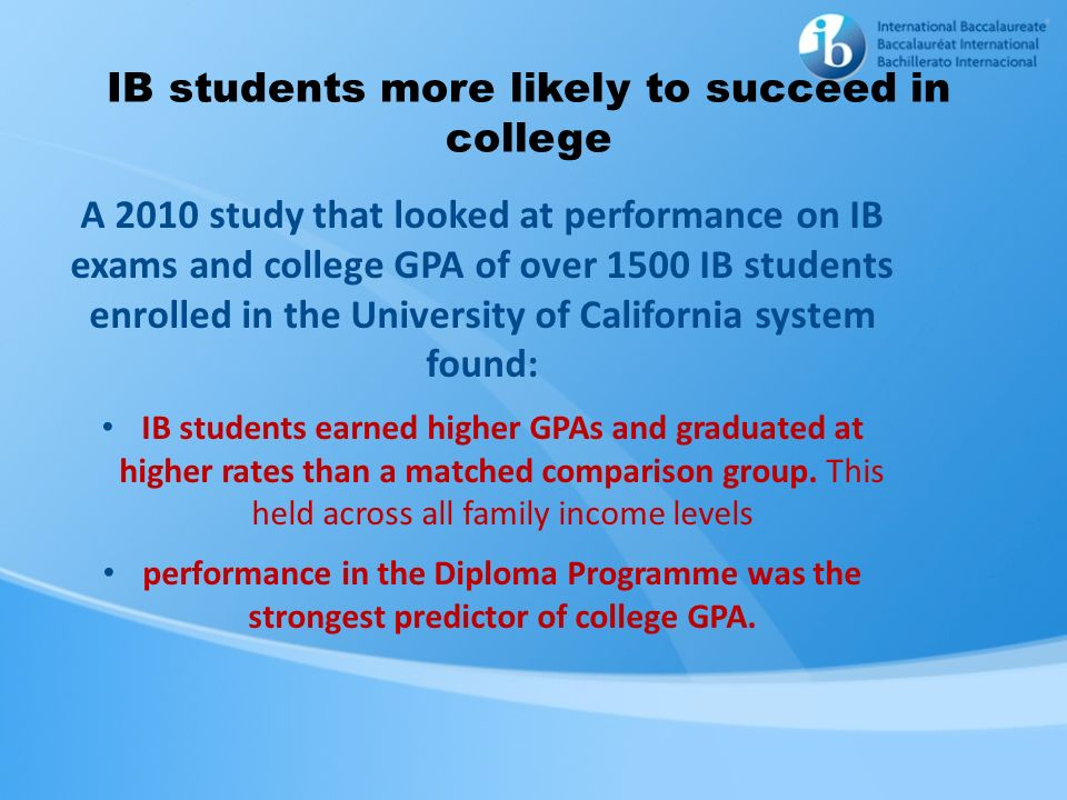 IB students more likely to succeed in college A 2010 study that looked at performance on IB exams and college GPA of over 1500 IB students enrolled in