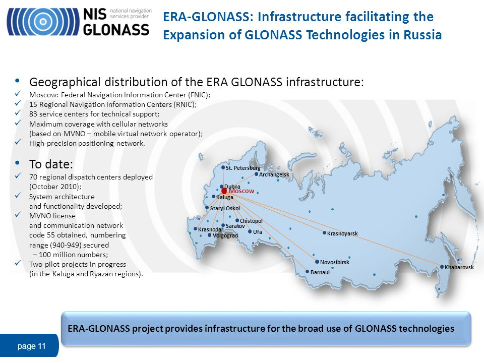 ERA-GLONASS: Infrastructure facilitating the Expansion of GLONASS Technologies in Russia page 11 Geographical distribution of the ERA GLONASS infrastr