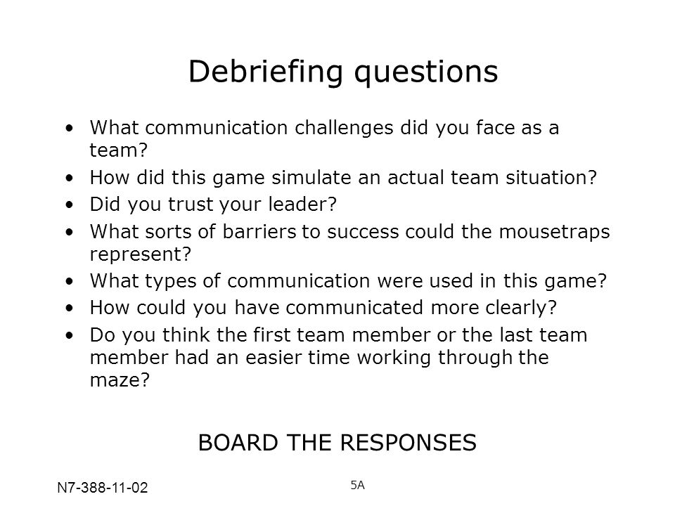 N7-388-11-02 Debriefing questions What communication challenges did you face as a team? How did this game simulate an actual team situation? Did you t