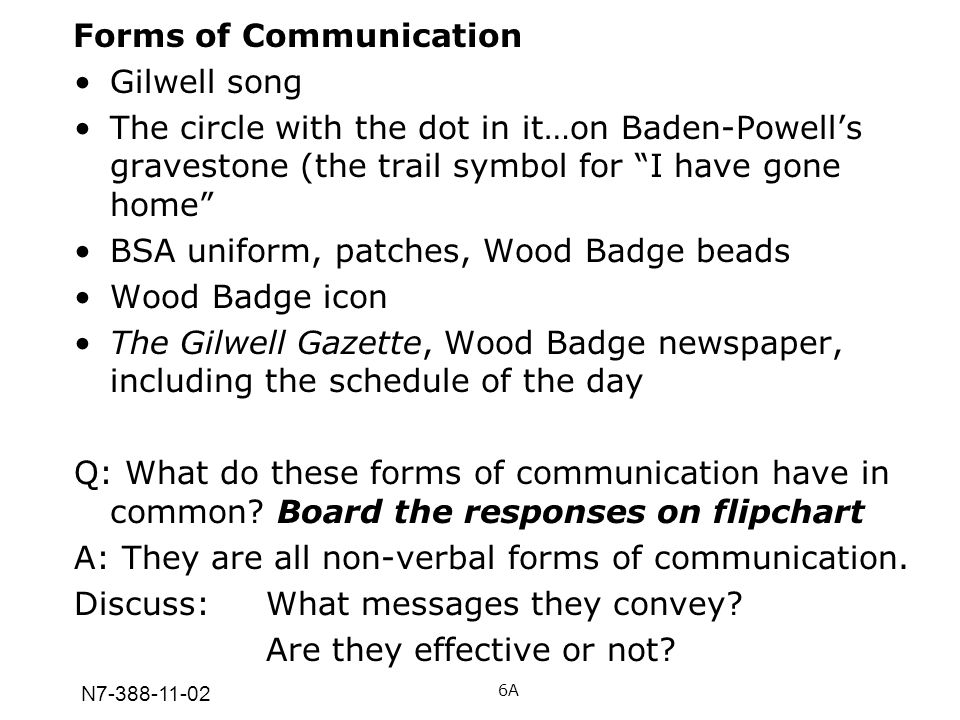 N7-388-11-02 Forms of Communication Gilwell song The circle with the dot in it…on Baden-Powells gravestone (the trail symbol for I have gone home BSA