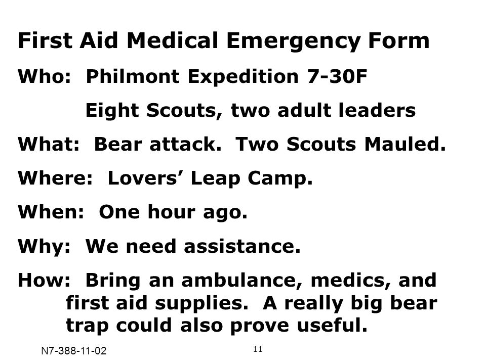 N7-388-11-02 First Aid Medical Emergency Form Who: Philmont Expedition 7-30F Eight Scouts, two adult leaders What: Bear attack. Two Scouts Mauled. Whe