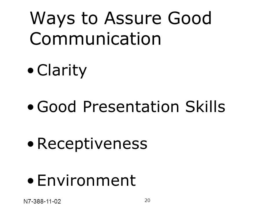 N7-388-11-02 Ways to Assure Good Communication 20 Clarity Good Presentation Skills Receptiveness Environment