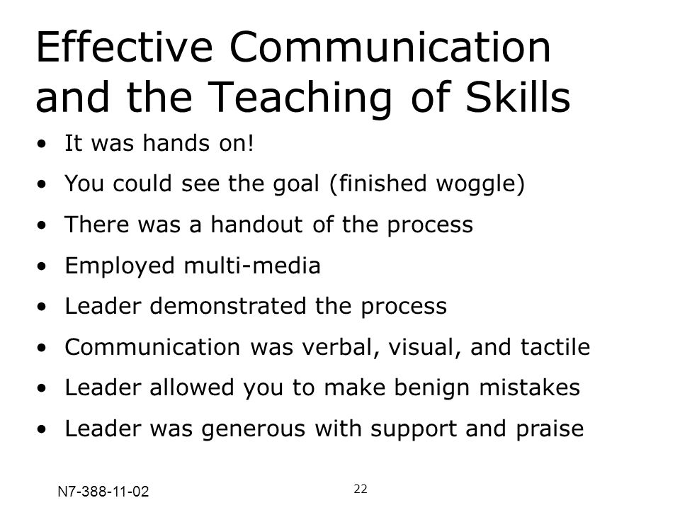 N7-388-11-02 Effective Communication and the Teaching of Skills 22 It was hands on! You could see the goal (finished woggle) There was a handout of th
