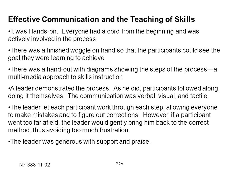 N7-388-11-02 Effective Communication and the Teaching of Skills It was Hands-on. Everyone had a cord from the beginning and was actively involved in t