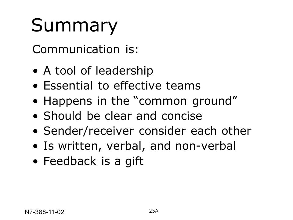 N7-388-11-02 Summary Communication is: A tool of leadership Essential to effective teams Happens in the common ground Should be clear and concise Send