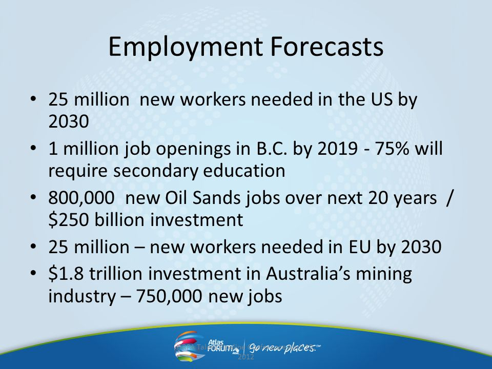 Employment Forecasts 25 million new workers needed in the US by 2030 1 million job openings in B.C. by 2019 - 75% will require secondary education 800