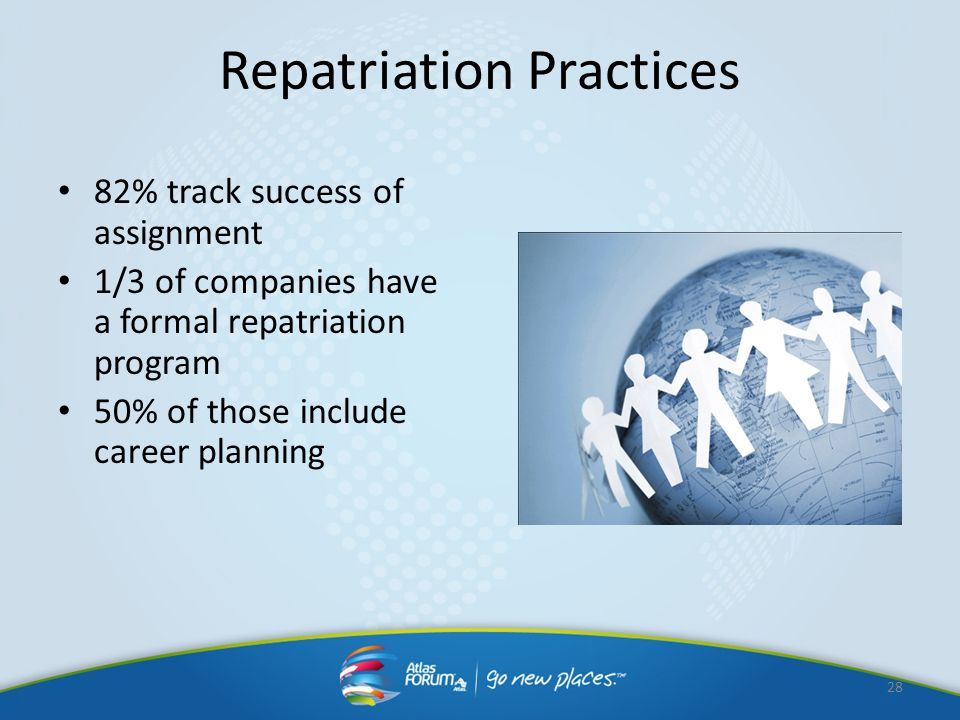 Repatriation Practices 82% track success of assignment 1/3 of companies have a formal repatriation program 50% of those include career planning 28