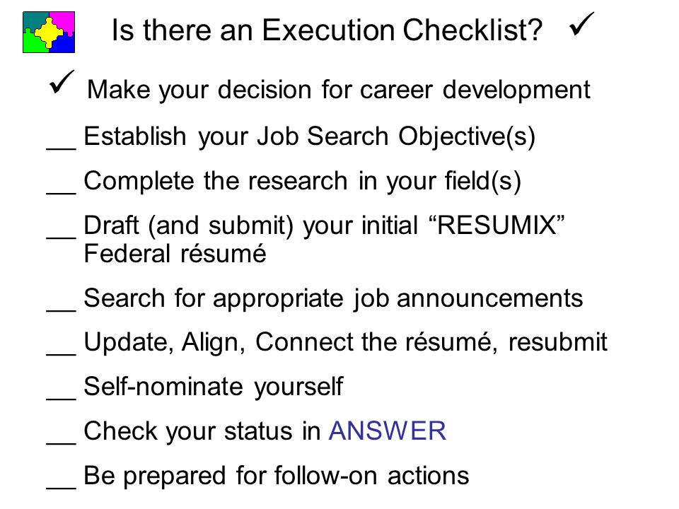 Is there an Execution Checklist.