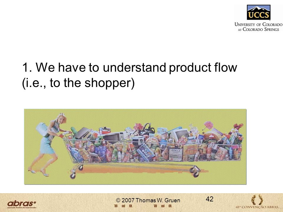 © 2007 Thomas W. Gruen 1. We have to understand product flow (i.e., to the shopper) 42