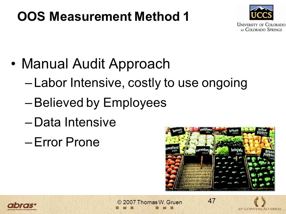 © 2007 Thomas W. Gruen OOS Measurement Method 1 Manual Audit Approach –Labor Intensive, costly to use ongoing –Believed by Employees –Data Intensive –