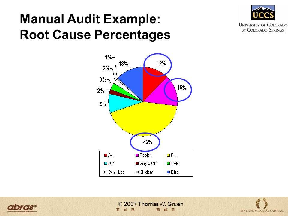 © 2007 Thomas W. Gruen Manual Audit Example: Root Cause Percentages