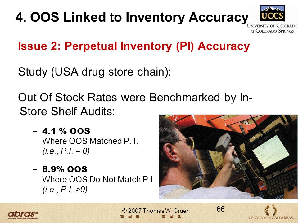 © 2007 Thomas W. Gruen 66 4. OOS Linked to Inventory Accuracy Issue 2: Perpetual Inventory (PI) Accuracy Study (USA drug store chain): Out Of Stock Ra
