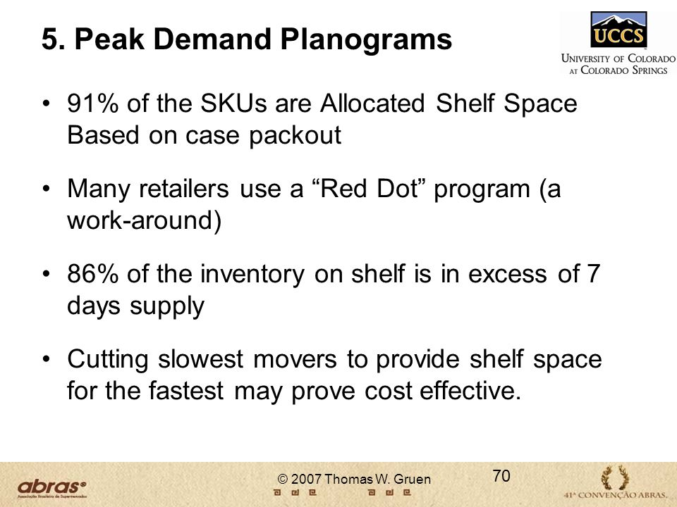 © 2007 Thomas W. Gruen 5. Peak Demand Planograms 91% of the SKUs are Allocated Shelf Space Based on case packout Many retailers use a Red Dot program