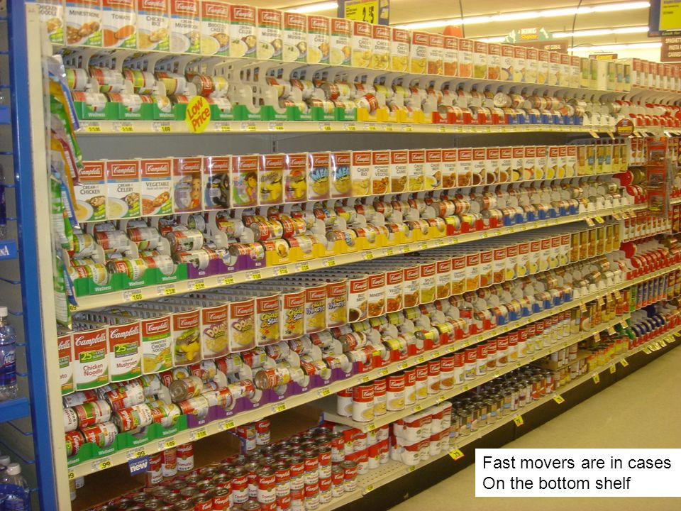 Fast movers are in cases On the bottom shelf