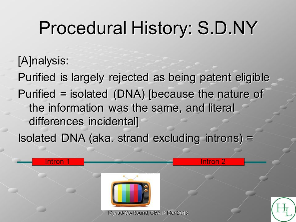 Myriad-Go-Round, CBA IP Mar 2013 Procedural History: S.D.NY [A]nalysis: Purified is largely rejected as being patent eligible Purified = isolated (DNA