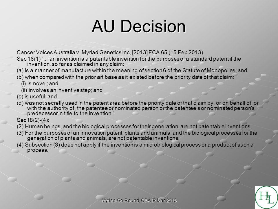 Myriad-Go-Round, CBA IP Mar 2013 AU Decision Cancer Voices Australia v.