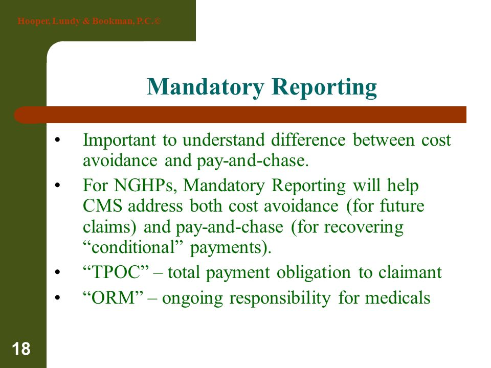 Hooper, Lundy & Bookman, P.C.© 18 Mandatory Reporting Important to understand difference between cost avoidance and pay-and-chase. For NGHPs, Mandator