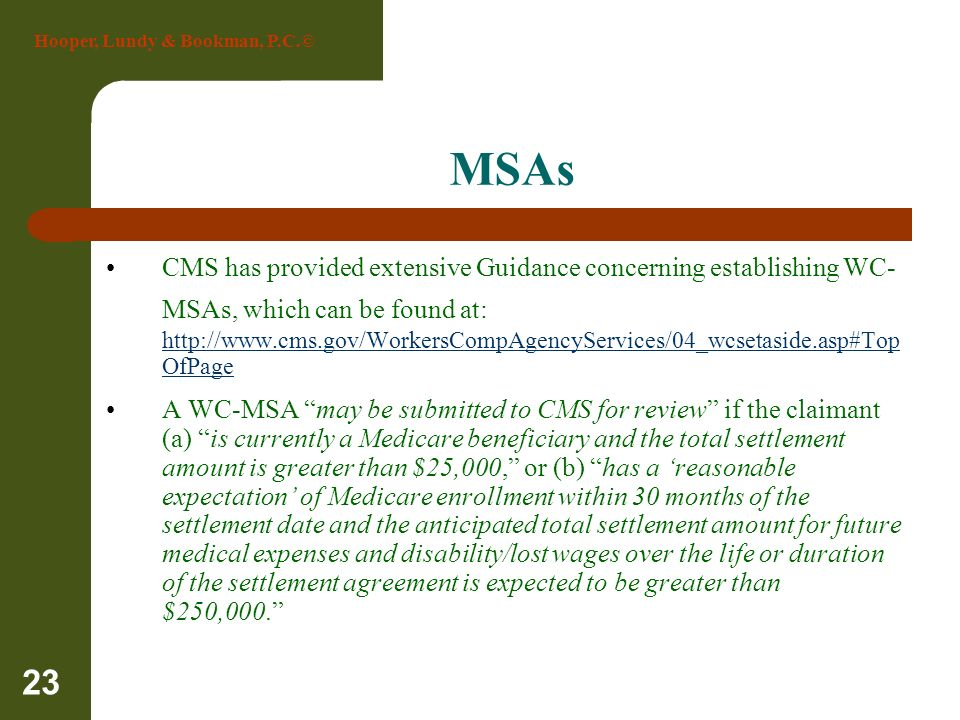 Hooper, Lundy & Bookman, P.C.© 23 MSAs CMS has provided extensive Guidance concerning establishing WC- MSAs, which can be found at: http://www.cms.gov