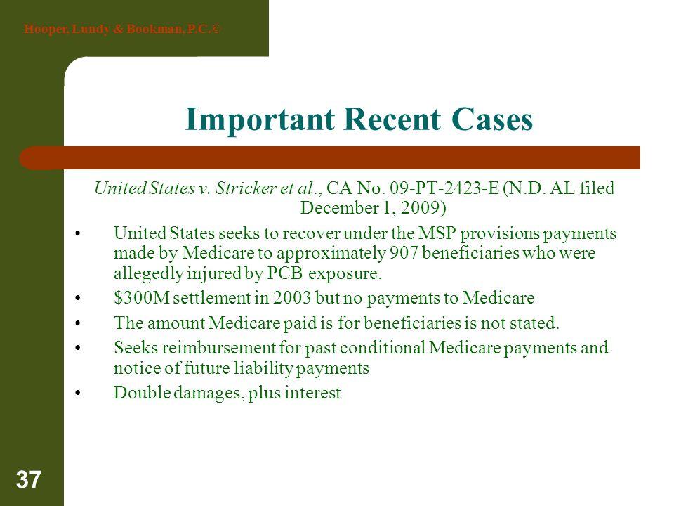 Hooper, Lundy & Bookman, P.C.© 37 Important Recent Cases United States v. Stricker et al., CA No. 09-PT-2423-E (N.D. AL filed December 1, 2009) United