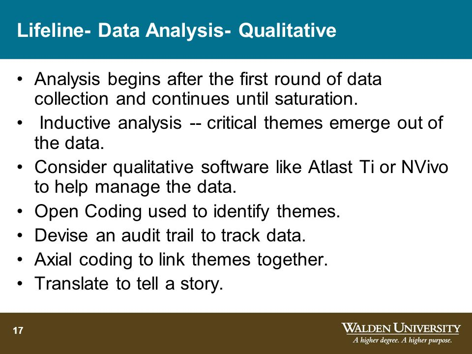 17 Lifeline- Data Analysis- Qualitative Analysis begins after the first round of data collection and continues until saturation. Inductive analysis --