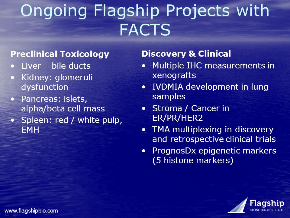 www.flagshipbio.com Ongoing Flagship Projects with FACTS Preclinical Toxicology Liver – bile ducts Kidney: glomeruli dysfunction Pancreas: islets, alp