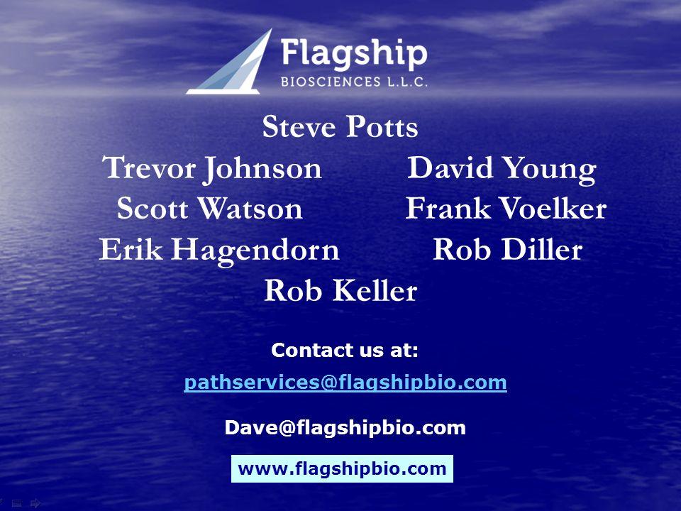 www.flagshipbio.com Steve Potts Trevor Johnson David Young Scott Watson Frank Voelker Erik Hagendorn Rob Diller Rob Keller Contact us at: pathservices