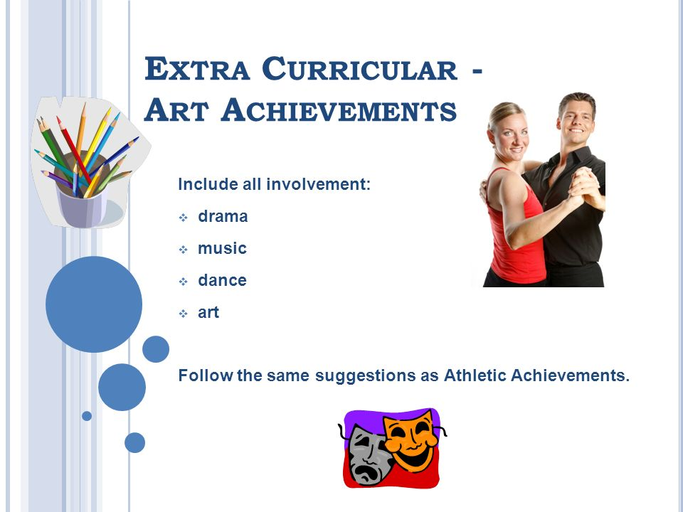 E XTRA C URRICULAR - A RT A CHIEVEMENTS Include all involvement: drama music dance art Follow the same suggestions as Athletic Achievements.
