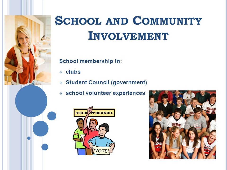 S CHOOL AND C OMMUNITY I NVOLVEMENT School membership in: clubs Student Council (government) school volunteer experiences