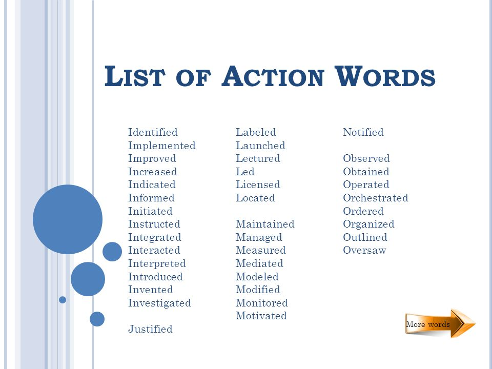 L IST OF A CTION W ORDS Identified Implemented Improved Increased Indicated Informed Initiated Instructed Integrated Interacted Interpreted Introduced Invented Investigated Justified Labeled Launched Lectured Led Licensed Located Maintained Managed Measured Mediated Modeled Modified Monitored Motivated Notified Observed Obtained Operated Orchestrated Ordered Organized Outlined Oversaw More words