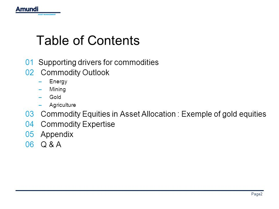 Page2 Table of Contents 01 Supporting drivers for commodities 02Commodity Outlook –Energy –Mining –Gold –Agriculture 03Commodity Equities in Asset Allocation : Exemple of gold equities 04Commodity Expertise 05Appendix 06Q & A