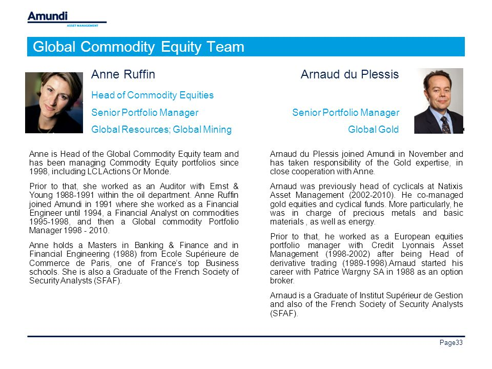 Page33 Anne Ruffin Head of Commodity Equities Senior Portfolio Manager Global Resources; Global Mining Anne is Head of the Global Commodity Equity team and has been managing Commodity Equity portfolios since 1998, including LCL Actions Or Monde.